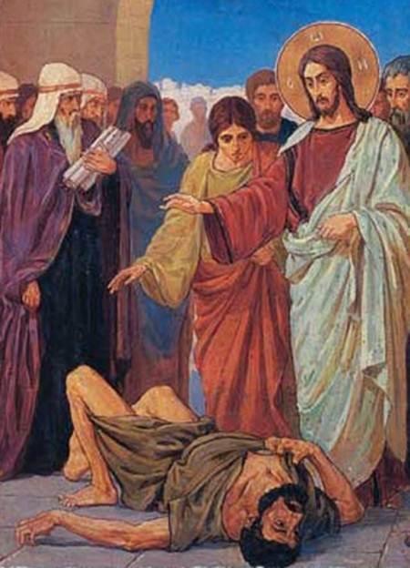Христос изгоняет беса, фарисеи и книжники богохульствуют.