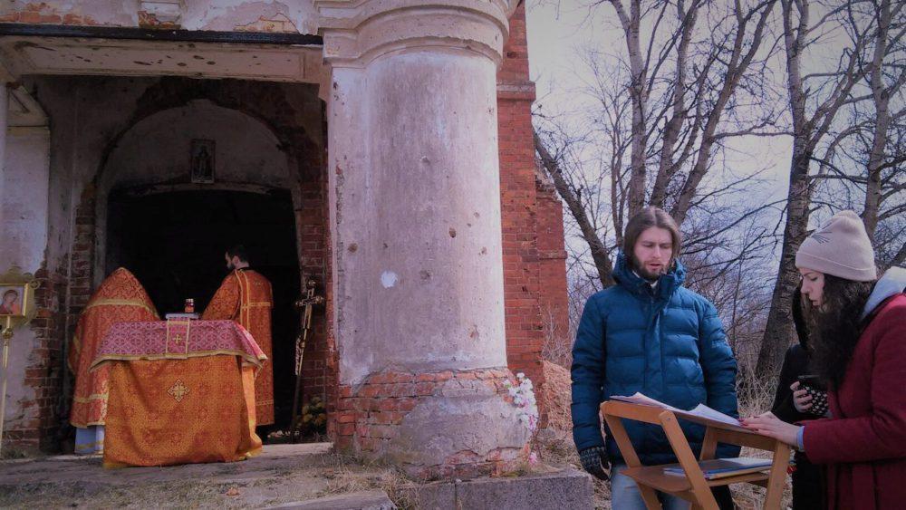 Пасхальная литургия в деревне Вычелобок 18 апреля 2017